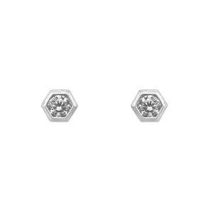 Nirvana Hexagon Silver Stud Earrings with Cubic Zirconia