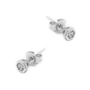 Nirvana Hexagon Silver Stud Earrings with Cubic Zirconia 2