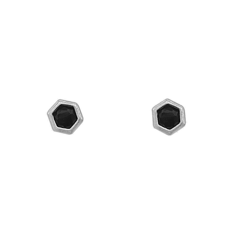 Nirma Hexagon Silver Stud Earrings with Onyx Stones