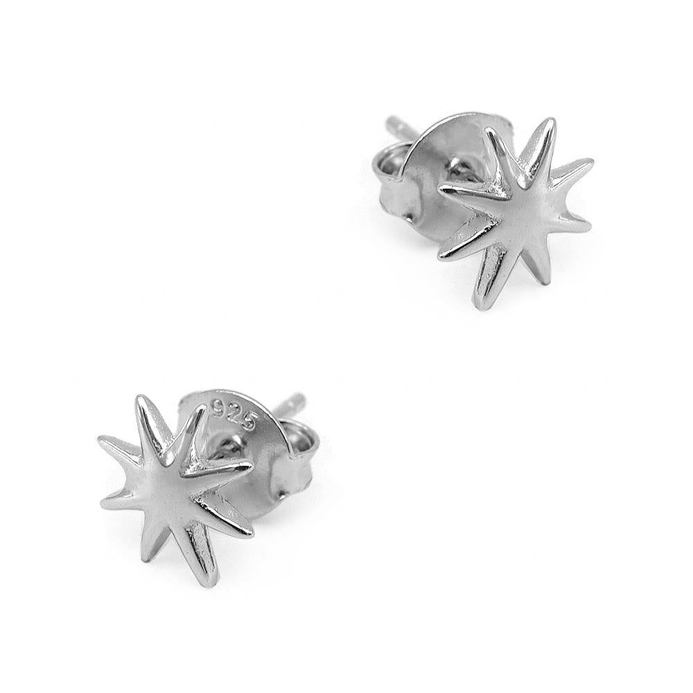 Load image into Gallery viewer, Neci Starburst Silver Stud Earrings