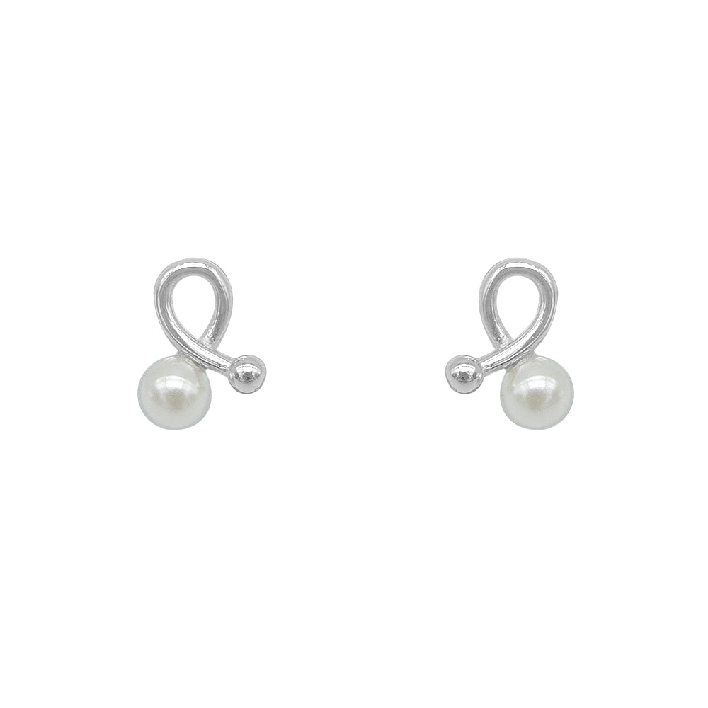 Melani Pearl Knot Silver Stud Earrings