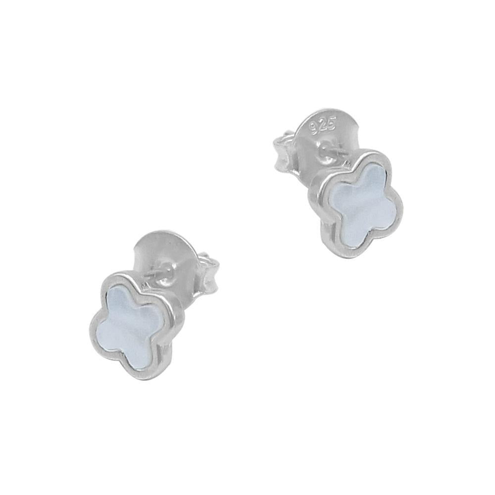 Napia Leaf Clover Silver Stud Earrings with Pearls