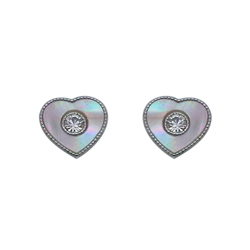 Nannie Heart Silver Stud Earrings with Pearls and Zirconia Stones