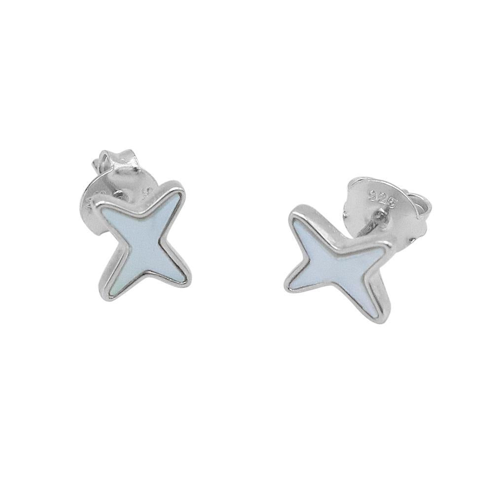 Najla Starlight Silver Stud Earrings with Pearls