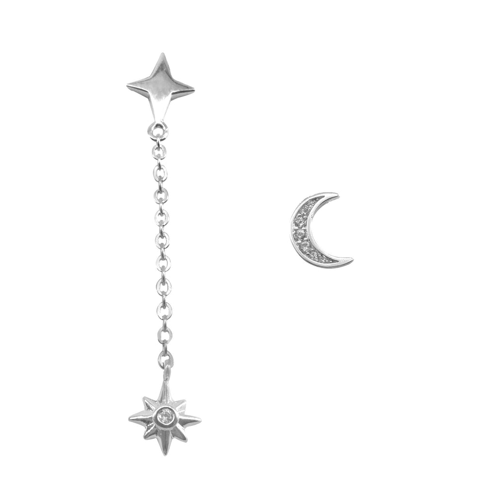 Monroe Mismatching Moon and Star Silver Drop Earrings