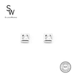 Square Stud Earrings with Round Zirconia in Middle