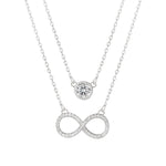 Harlie Round and Infinity 2 in 1 Silver Necklace with Cubic Zirconia