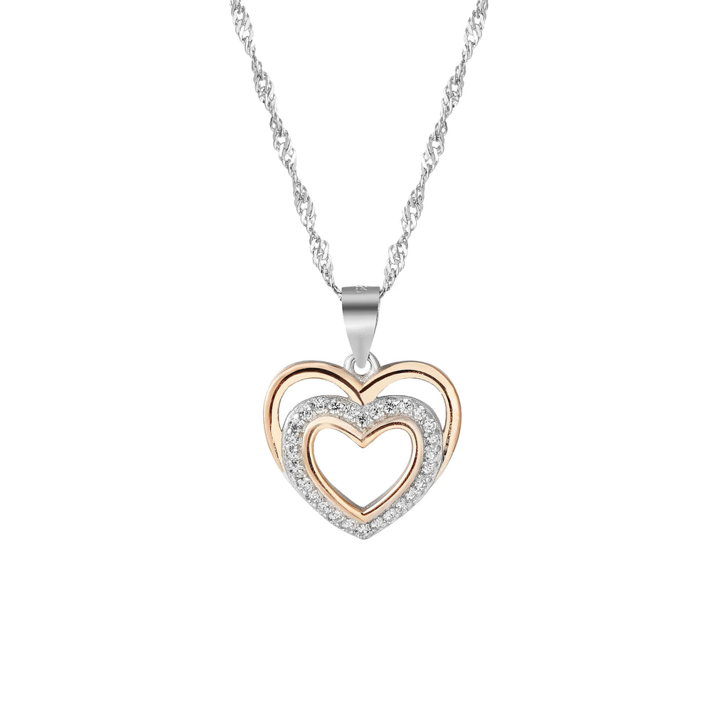 Havana Silver Open-Layered Heart Necklace with Cubic Zirconia and Rose Gold
