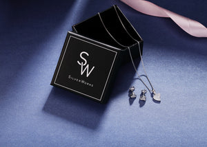 Samantha Heart Silver Earrings and Necklace Set with Cubic Zirconia Box Packaging
