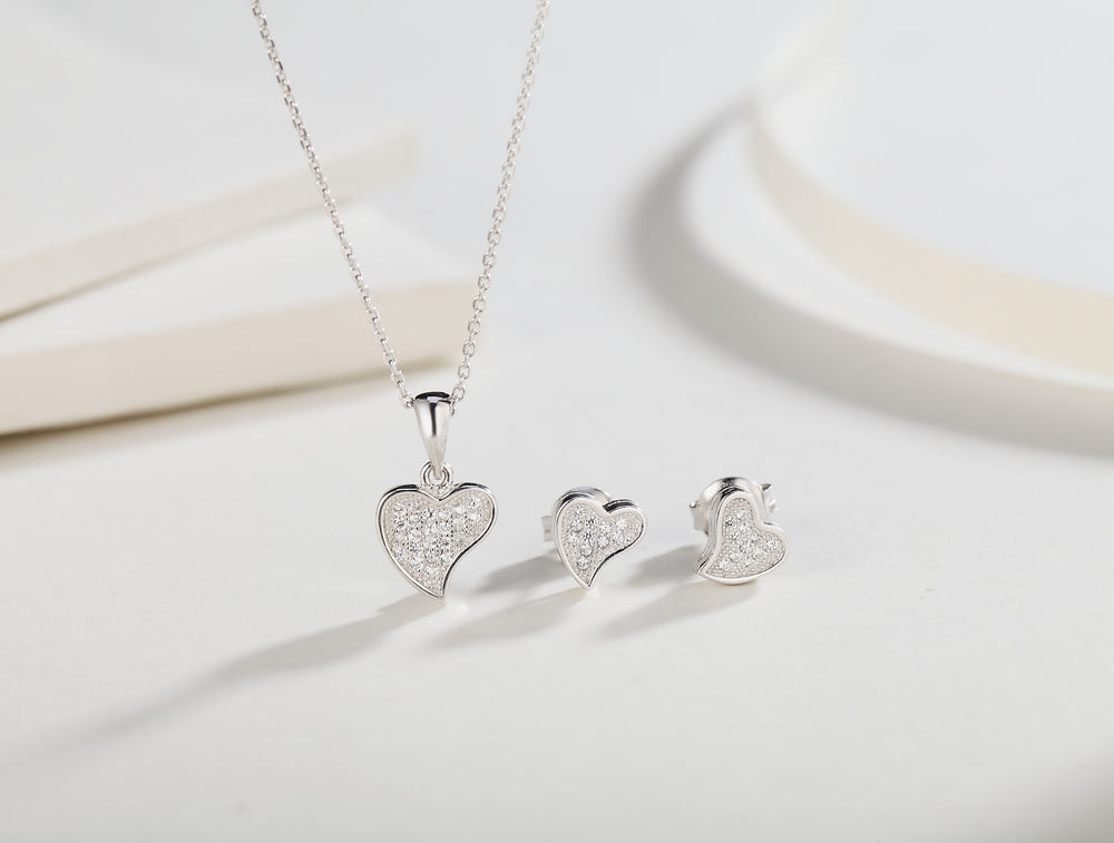 Samantha Heart Silver Earrings and Necklace Set with Cubic Zirconia