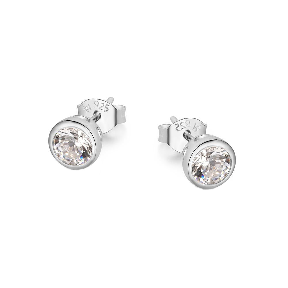 Mitch Round Bezel Silver Stud Earrings