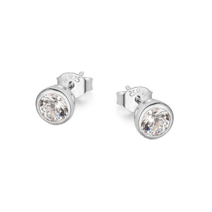 Load image into Gallery viewer, MacKenzie Round Bezel Silver Stud Earrings