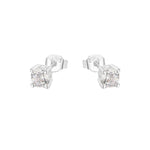 Madison Round Four Prong Silver Stud Earrings with Cubic Zirconia