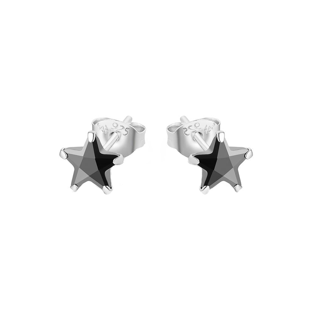 Maille Black Onyx Star Silver Stud Earrings