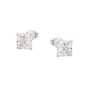 Load image into Gallery viewer, Maitland Invisible Silver Square Cut Stud Earrings
