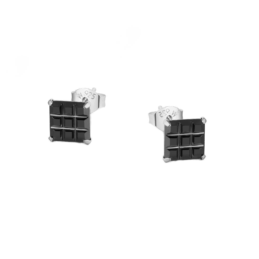 Mal Black Onyx Square Cut Silver Stud Earrings