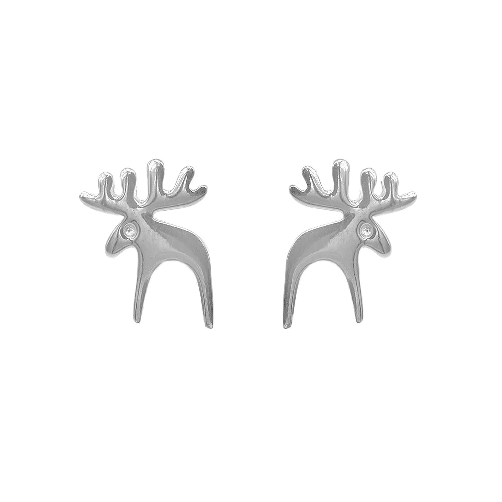 Malvie Deer Silver Stud Earrings
