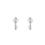 Melissa Key Shaped Silver Stud Earrings with Cubic Zirconia