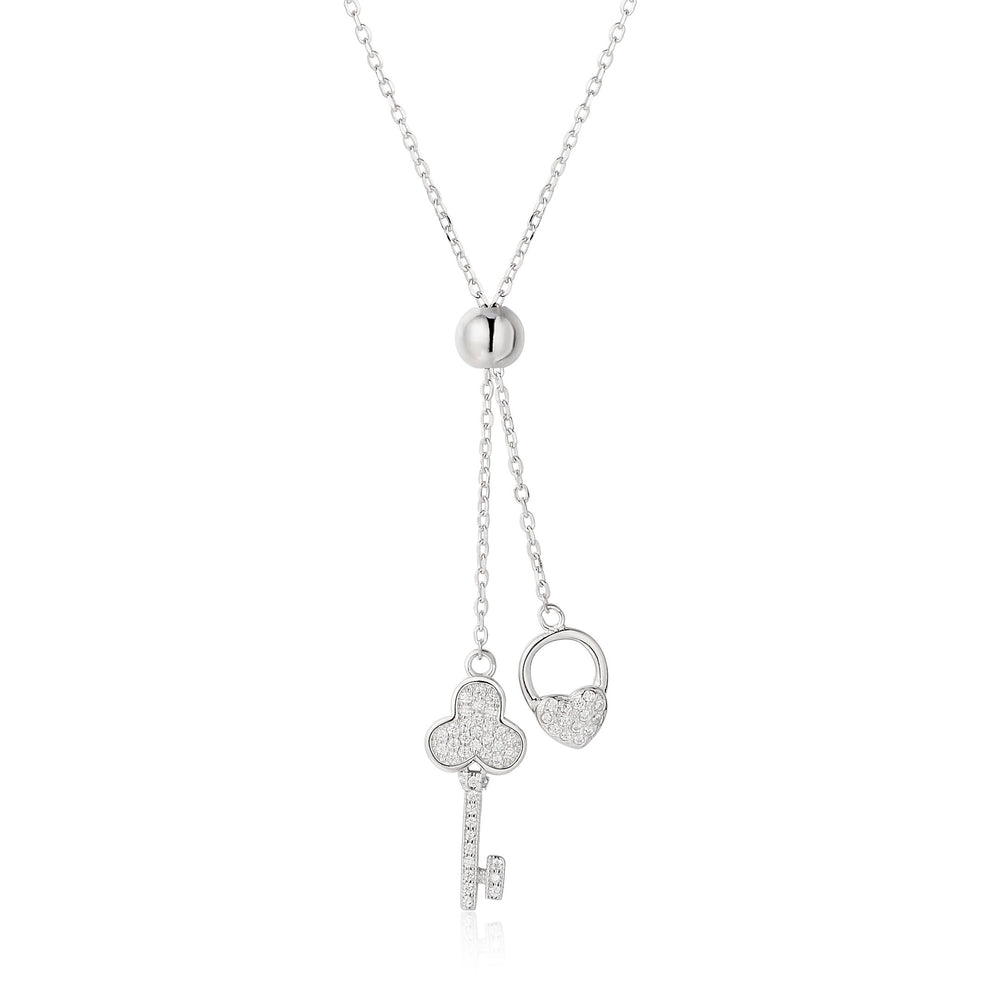 Heaven Silver Club Key and Heart Lock Necklace with Ball Clasp and Cubic Zirconia