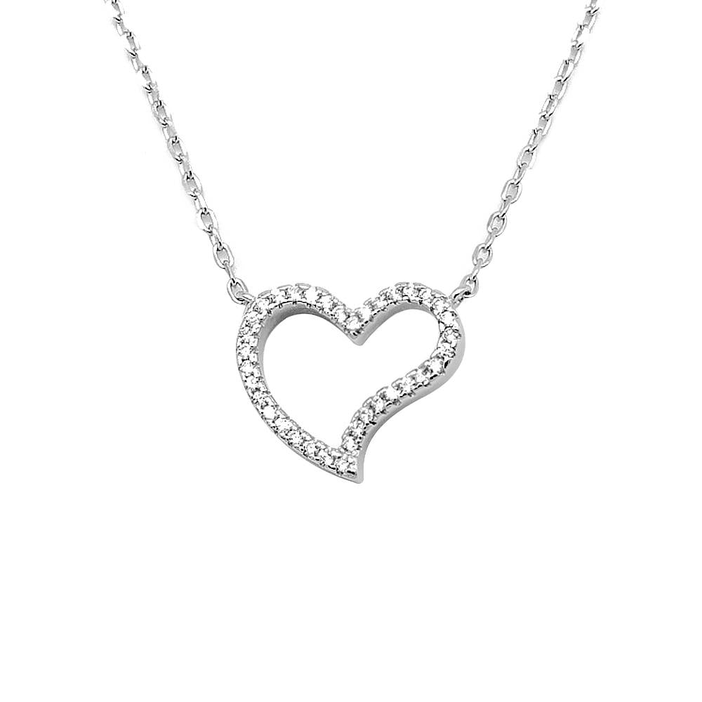 Humility Slanted Open Heart Silver Necklace with Zirconia Stones and Rolo Chain
