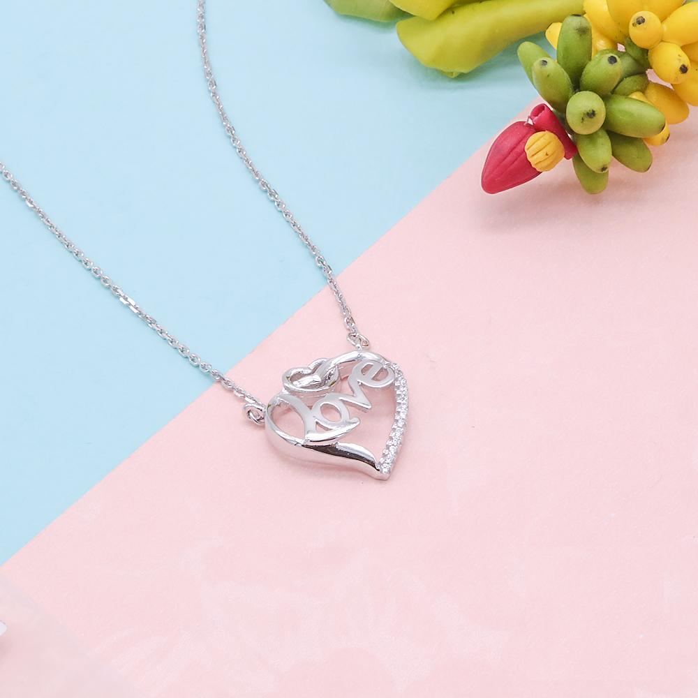 Huberta Love in Open Heart Silver Necklace with Zirconia Stones and Rolo Chain