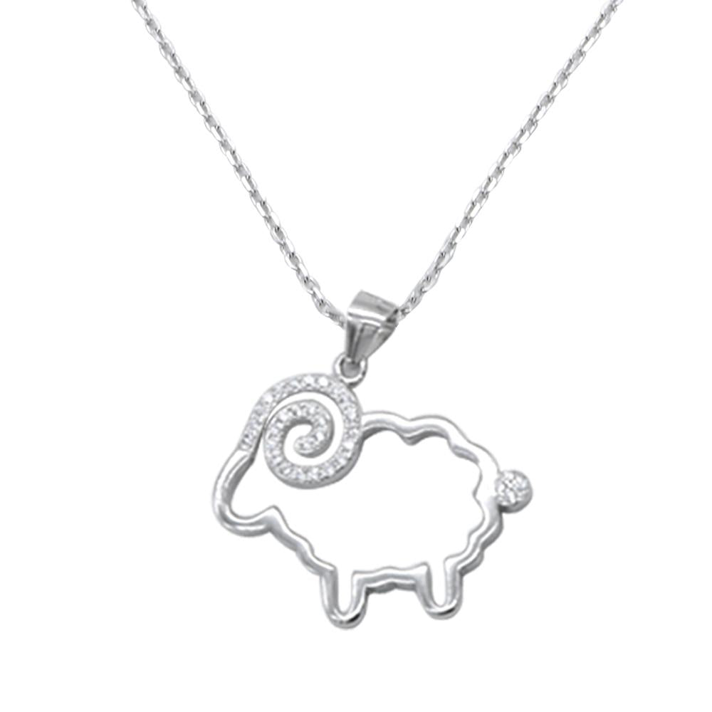 Hollyn Open Ram Silver Necklace with Zirconia Stones and Rolo Chain