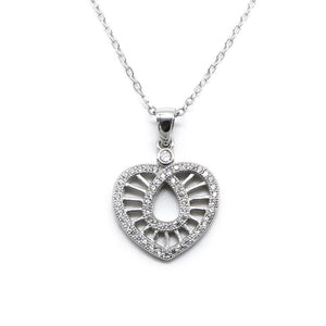 Hippolyte Knot Heart Necklace with Zirconia Stones