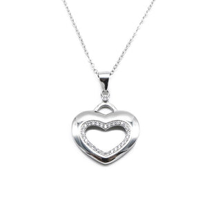 Hiolair Open Heart Silver Necklace with Zirconia Stones and Rolo Chain