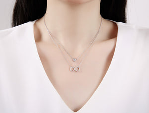 Harlie Round and Infinity 2 in 1 Silver Necklace with Cubic Zirconia Model