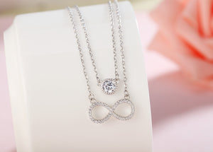 Harlie Round and Infinity 2 in 1 Silver Necklace with Cubic Zirconia 2