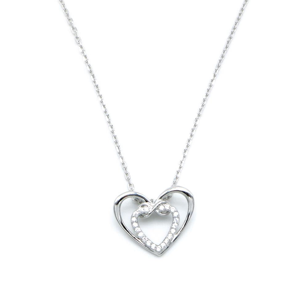 Hilma Layered Open Hearts Silver Necklace with Zirconia Stones and Cable Chain