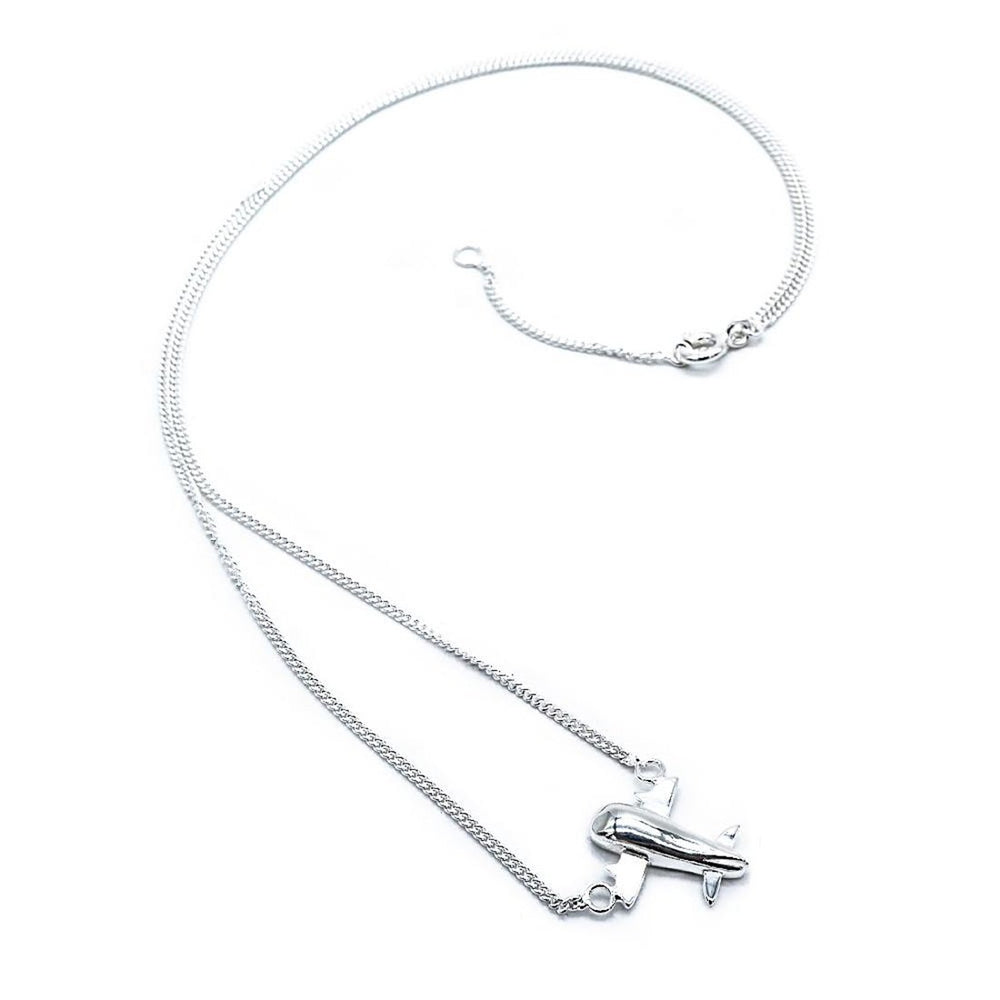 Hildireth Plane Silver Necklace with Curb Chain