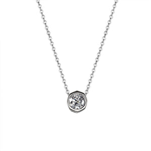 Harriet Silver Hexagon Necklace with Cubic Zirconia