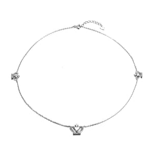 Halyn Silver Heart-Shaped Crown Necklace with Cubic Zirconia