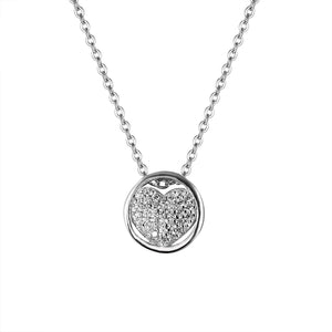 Honey Silver Heart in Halo Necklace with Cubic Zirconia