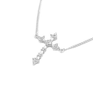 Load image into Gallery viewer, Hialeah Cross Silver Necklace with Zirconia Stones