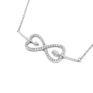 Hesper Heart Infinity and Arrow Silver Necklace with Zirconia Stones and Rolo Chain