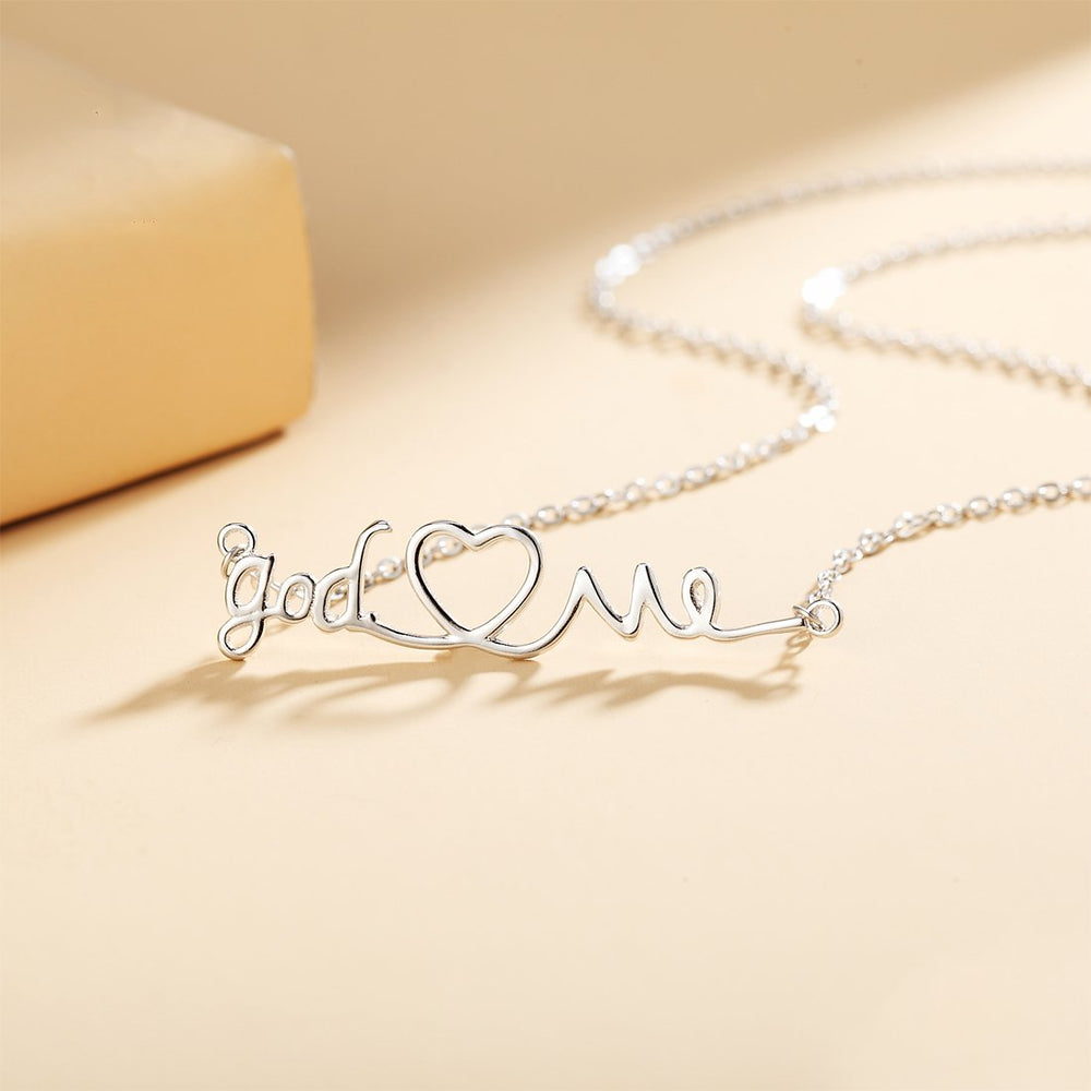 Hermandina God Heart Me Silver Necklace with Rolo Chain