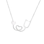 Heqet I Heart U Silver Necklace with Zirconia Stones and Rolo Chain