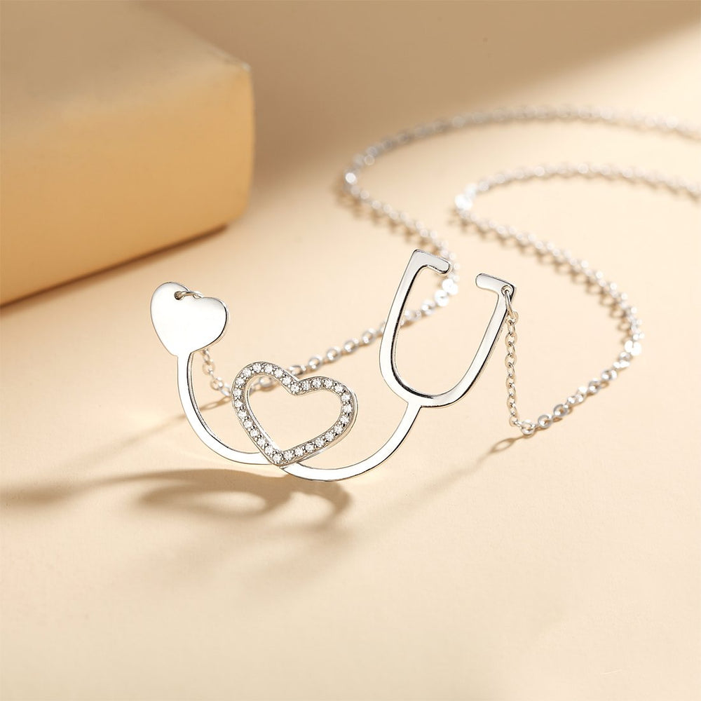 Load image into Gallery viewer, Heqet I Heart U Silver Necklace with Zirconia Stones and Rolo Chain
