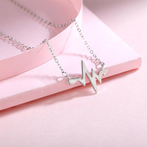 Hepzibeth Polished Pulse Arrow Silver Necklace with Rolo Chain