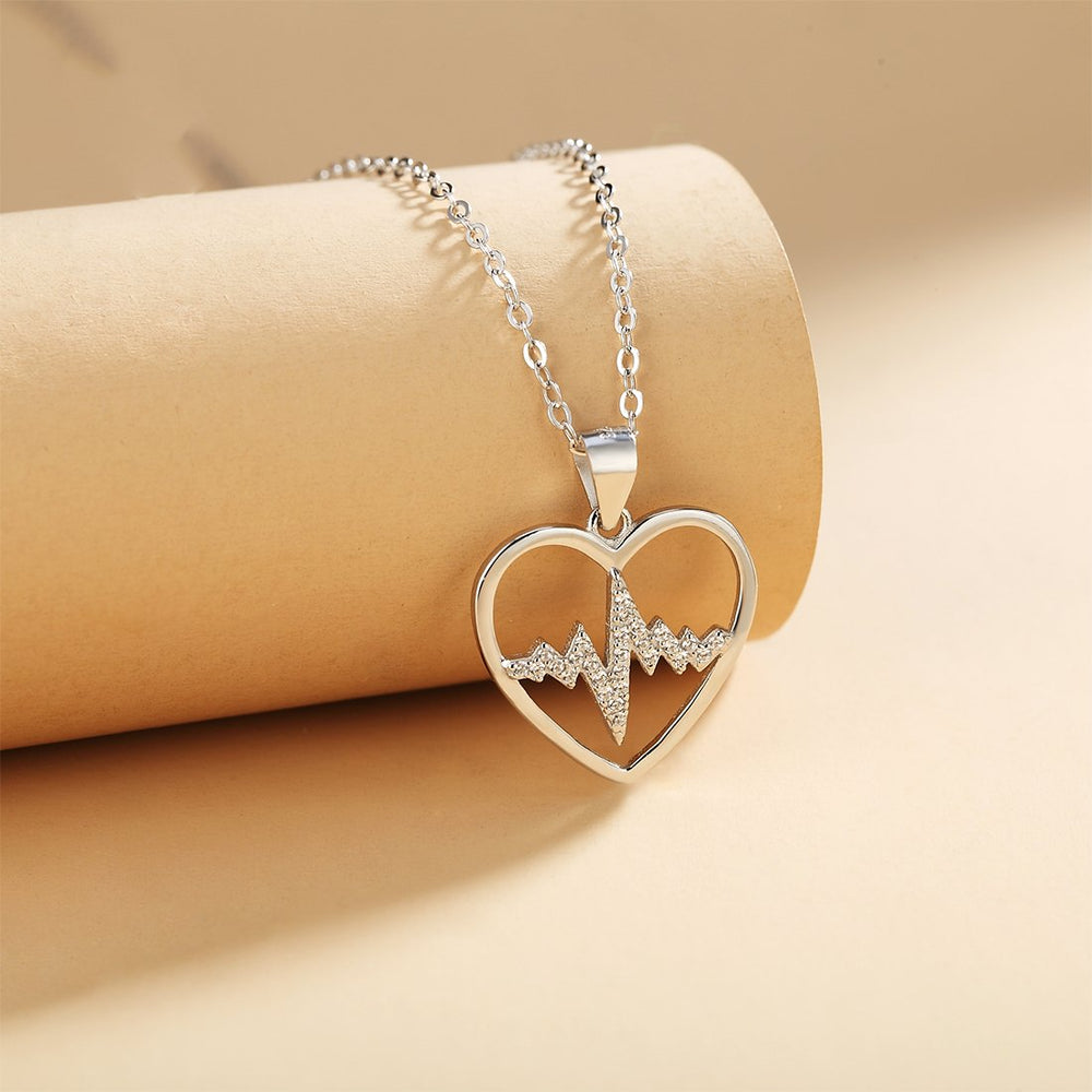 Henuita Open Heartbeat Silver Necklace with Rolo Chain
