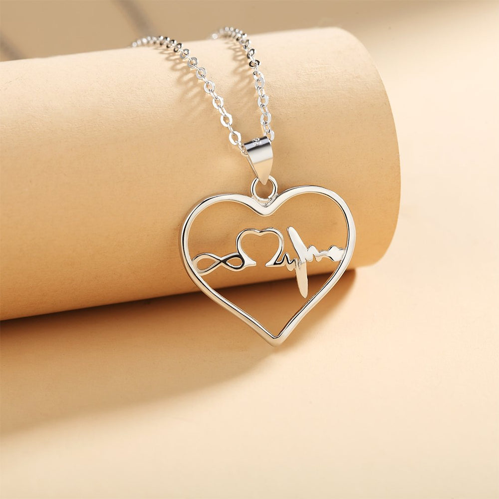 Henia Infinity, Heart and Pulse in Open Heart Silver Necklace with Rolo Chain