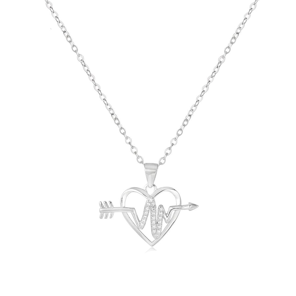 Heloise Pulse Arrow in Open Heart Silver Necklace with Zirconia Stones and Rolo Chain