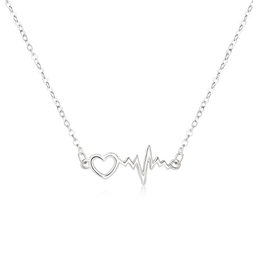 Heide Heart and Pulse Silver Necklace with Rolo Chain