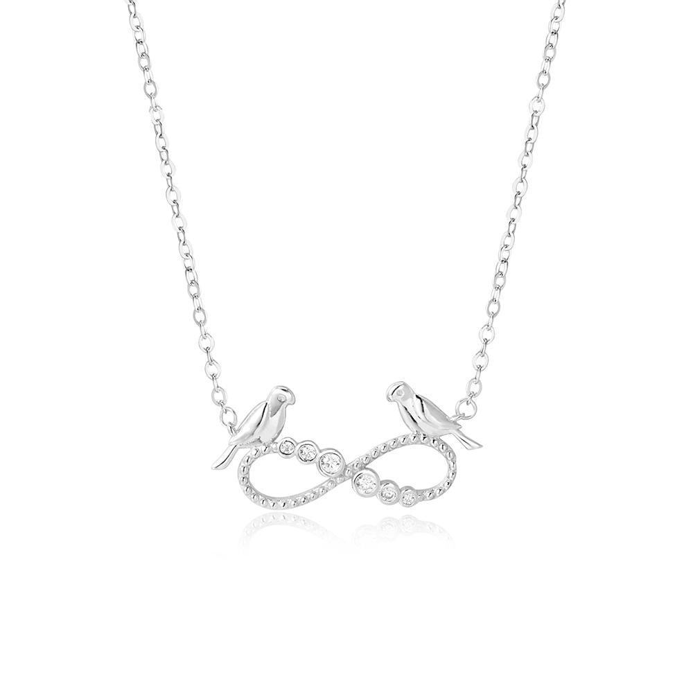 Havva Infinity and Love Birds Silver Necklace with Zirconia Stones and Rolo Chain