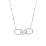 Haukea Infinity and Heart Knot Silver Necklace with Zirconia Stones and Rolo Chain