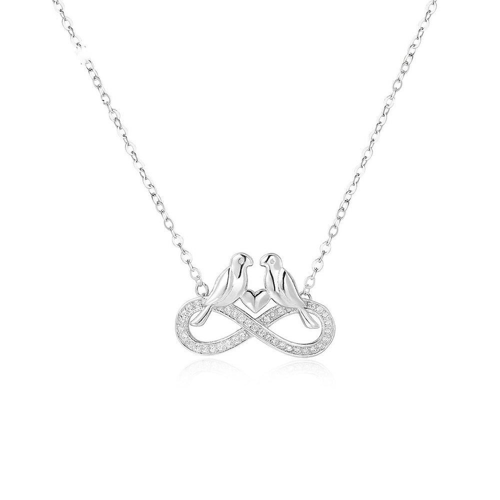 Hatty Infinity, Love Birds and Heart Silver Necklace with Zircona Stones and Rolo Chain