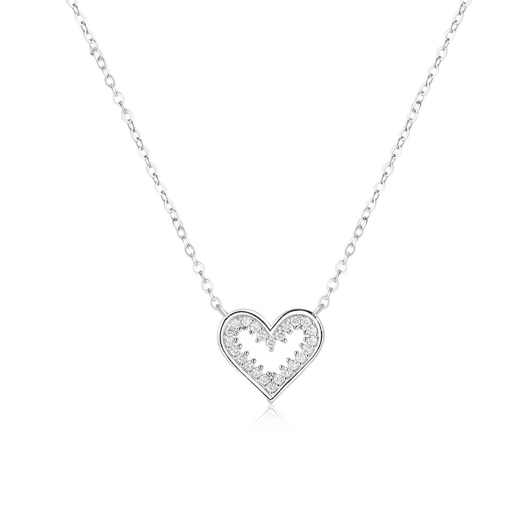 Hasina Open Heart Silver Necklace with Simulated Diamonds and Rolo Chain