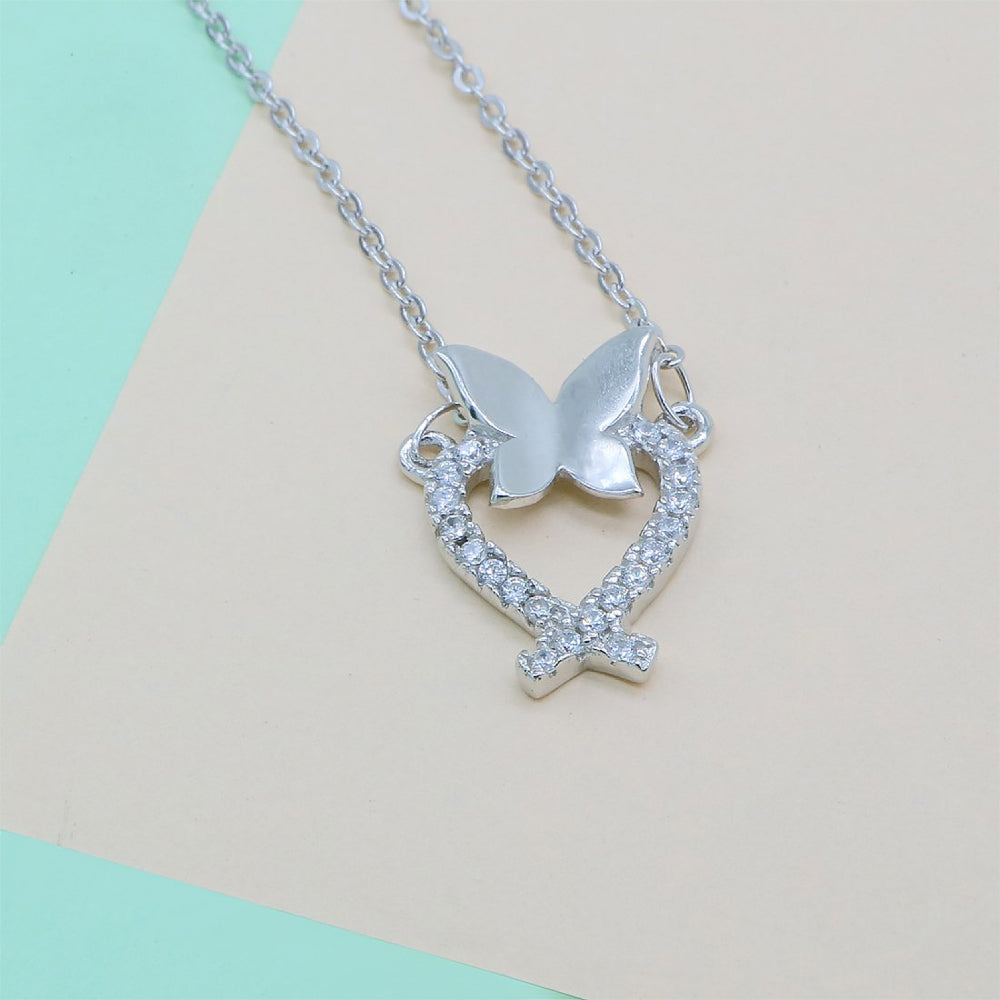 Halimeda Open Heart Lasso and Butterfly Silver Necklace with Zirconia Stones